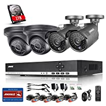 Annke 4CH 1080N/720P Digital Video Recorder 1TB Hard Drive Included and (4) 960P/1.3MP Wired Security Cameras with Metal Housing Body