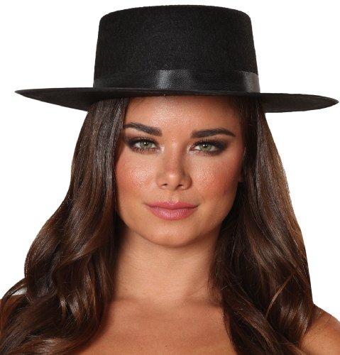 Roma Costume Zorro Hat Costume, Black, One Size