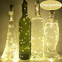 4 Pcs Wine Bottle Lights, Anipopy Cork Shaped Rechargeable USB Powered String Fairy Lights for Bottle DIY,Christmas Halloween Wedding Party Indoor Outdoor Decoration(70cm 15 LED Warm White)