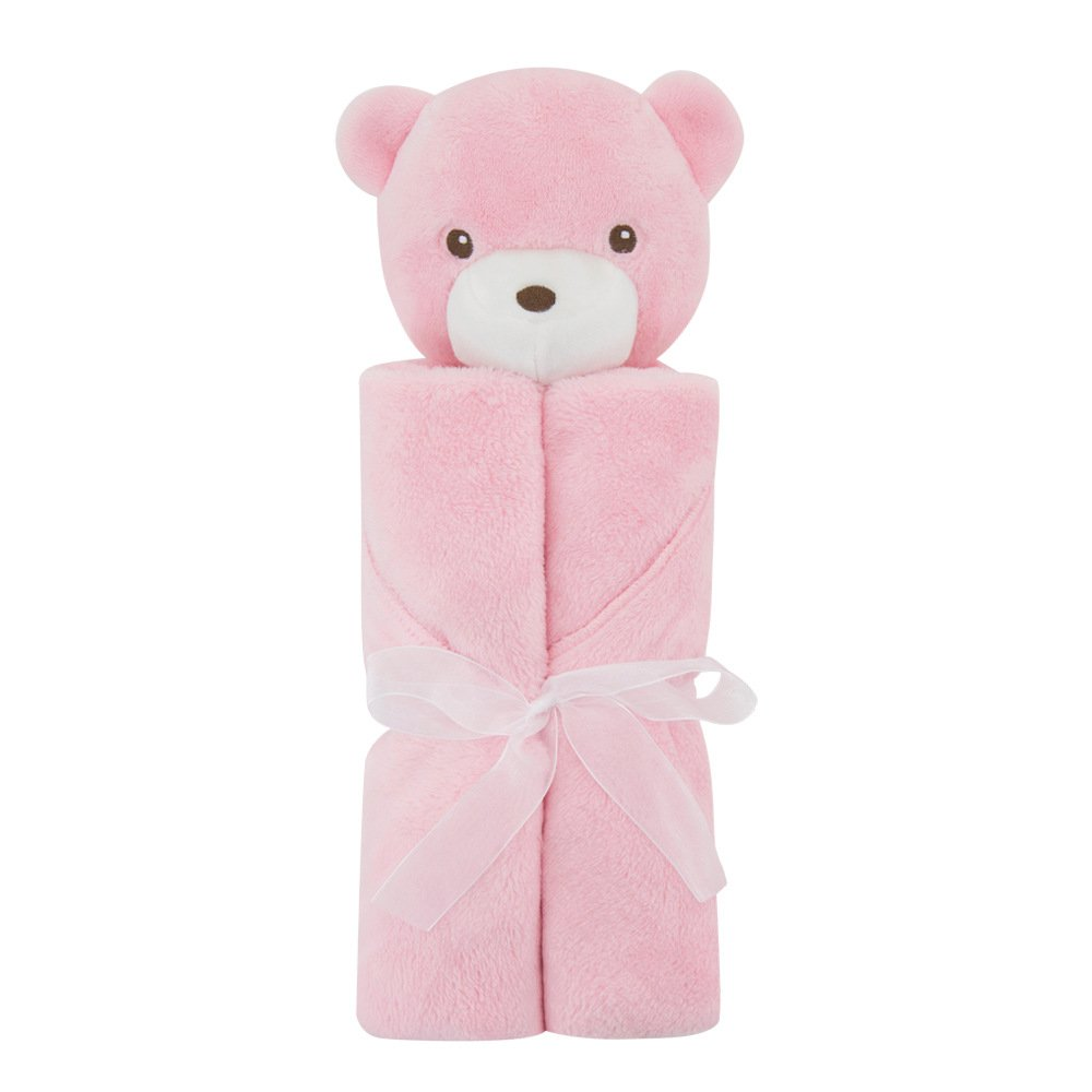 Babe Maps Baby Toddler Blanket Super-Soft Lightweight Coral Fleece Bed Blankets,Cute Pink Bear
