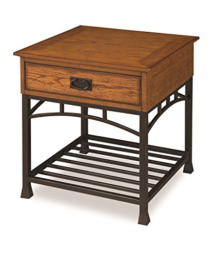 Home Style  Modern Craftsman End Table, Distressed Oak Finish