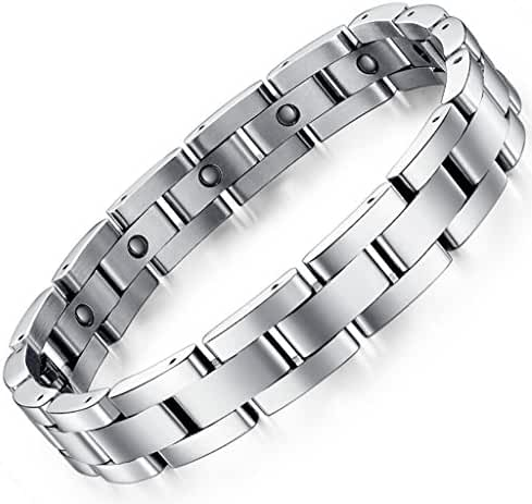 Men Sleek Titanium Steel Magnetic Therapy Bracelet in Velvet Gift Box with Free Link Removal Tool