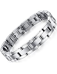 Men Sleek Magnetic Therapy Bracelet in Velvet Gift Box with Free Link Removal Tool,9 inch
