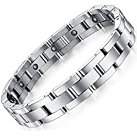 Feraco Men Sleek Magnetic Therapy Bracelet Pain Relief For Arthritis with Link Removal Tool,9 inch