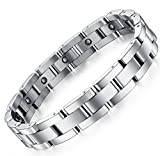 Mens Sleek Titanium Steel Magnetic Therapy Bracelet in Velvet Gift Box with Free Link Removal Tool,9'