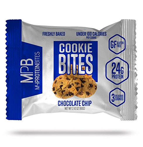 My Protein Bites | Protein Cookies | 24 Grams of Protein, Low Carbs & Low Sugar | Gluten Free | (8 Packs of 3 Cookies (24 Cookies) Chocolate Chip)