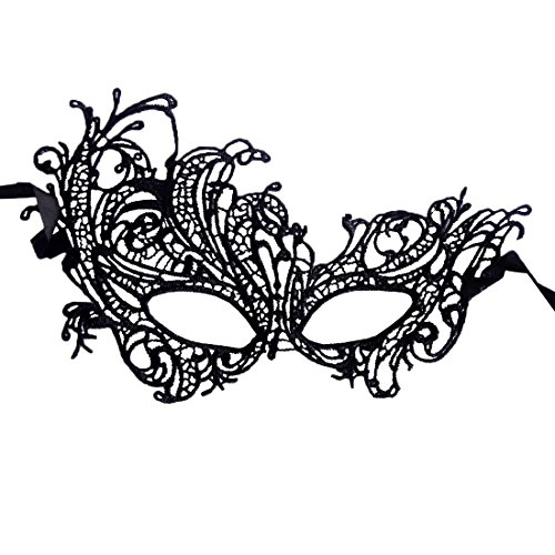 [Andux Land Sexy Lace Mask with straps Black Fancy Halloween Party Masquerade Bar Nightclub queen Dance Mysterious Soft for eyes for Women and Girl White LSMJ-01 black] (Soft And Sexy Mask)