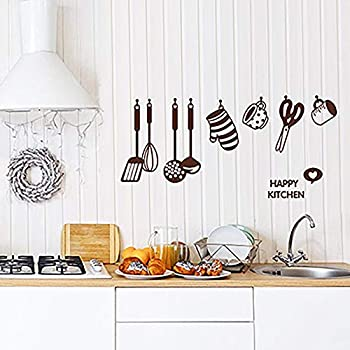 Tinfun DIY Cooking Utensil Removable Kitchen & Dining Room Wall Decal Vinyl Home Decor Wall Stickers(9 Decals)
