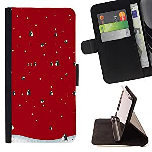 For HTC One Mini 2/ M8 MINI Winter Christmas Penguin Snow Style PU Leather Case Wallet Flip Stand Flap Closure Cover