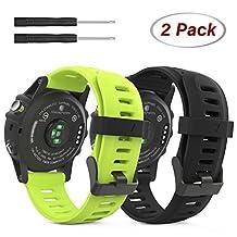 Garmin Fenix 3 Accessories, MoKo Soft Silicone Replacement [2 PCS] Watch Band for Garmin Fenix 3 / Fenix 3 HR / Fenix 5X Smart Watch - Black & Green