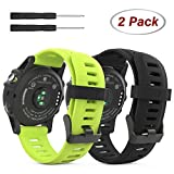 Garmin Fenix 3 Accessories, MoKo Soft Silicone Replacement [2 PCS] Watch Band