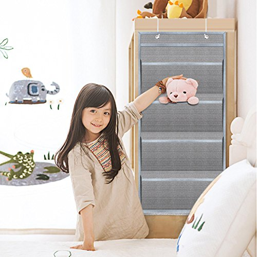 Hanging Wall Organizer,HENGSHENG Wall Mount/Over The Door Office Supplies Storage Mail Organizer for Notebooks,Planners,File Folders - 4 Pockets Deep Gray