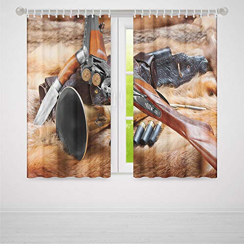 (ALUONI Living Room Curtains,Hunting Decor,Living Room Bedroom Window Drapes,Hunting Materials on Fur Rifle Ammunition Cartridge Knife Sheath Decorative2 Panel Set,103W X 83L Inches)