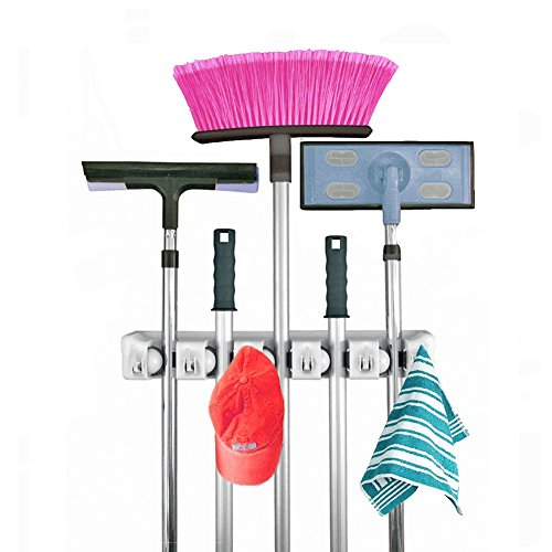 LuoJi Wealth Mop and Broom Holder,5 Non-slip with 6 Hooks...