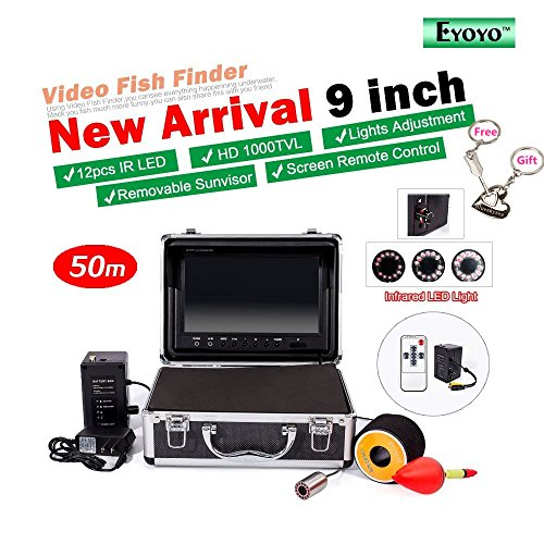 Authentic eyoyo 9 color lcd hd 1000tvl waterproof 50m for Fish finder battery