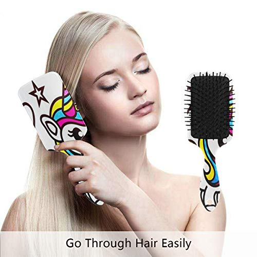 Detangling-Hairbrush, Cute Baby Unicorns Coloring Boar bristle Hair Brushes with Nylon Ball-tipped & Air Cushion Plastic Comb for Anti Static & Frizz,Womens/Girls Hair Brush