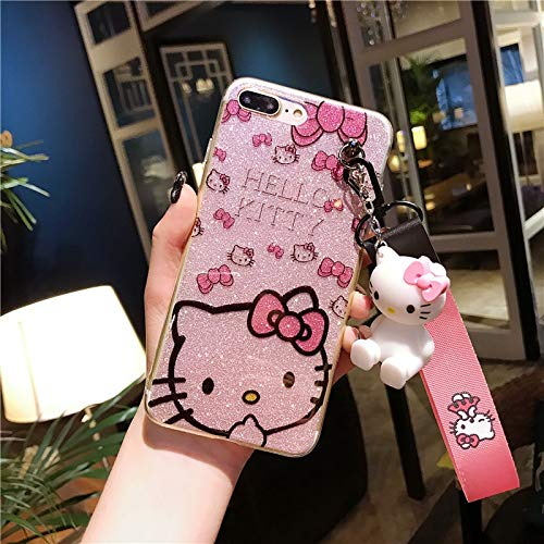 Maxlight for iPhone Xs Max XR Kitty Case Bling Hello Kitty Cover for iPhone 7 8 Plus X Phone Cover + Toy Stander +Strap (Style 3, for iPhone 7plus - Hello Case Bling Kitty