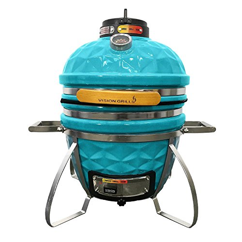 Vision Grills Diamond-Cut Cadet Kamado Grill (Teal) by Vision Grills