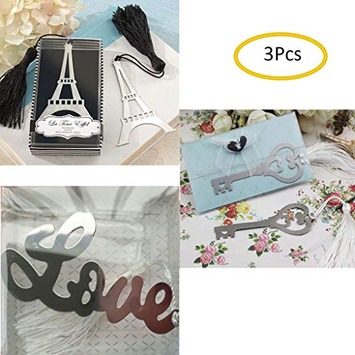 Eraimp Unique Christmas Gifts Bookmark Sets - Creative Silver Metal Bookmarks with Tassel for Book Lover Kids Office School Reading - 3Pcs Keys/Eiffel Tower/Love
