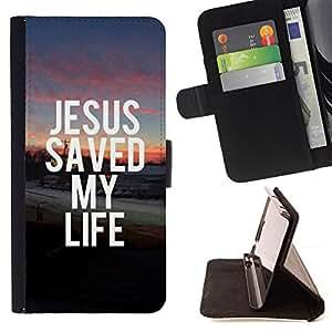 BullDog Case - FOR/Apple Iphone 5 / 5S / - / JESUS SAVED MY LIFE /- Monedero de cuero de la PU Llevar cubierta de la caja con el ID Credit Card Slots Flip funda de cuer