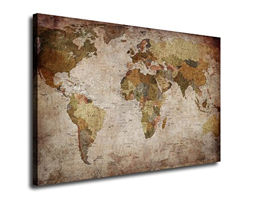 arteWOODS Vintage World Map Canvas Prints, Retro Map of the World Giclee Art Reproductions Prints, Contemporary Map Wall Art Decor Framed Ready to Hang for Home and Office Decoration
