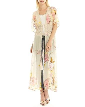a8391b4fe Aratta ED18E75 Ivory Floral Still Cool Maxi Kimono at Amazon Women's ...