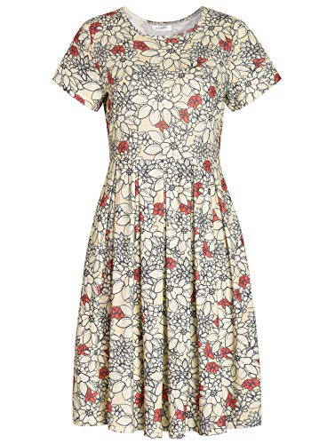 Weintee Women's Short Sleeves Jersey Pleated Dress with Pockets S Beige Floral ()