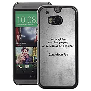 A-type Arte & diseño plástico duro Fundas Cover Cubre Hard Case Cover para HTC One M8 (Quote Love Heart Gray Grey Black White)