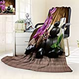 AmaPark Silky Soft Plush Warm Blanket for Autumn Winter Zen Basalt Stones and Bamboo on The Wood,Silky Soft,Anti-Static,2 Ply Thick,Hypoallergenic Printed Fleece Blanket.(W60 x L72)