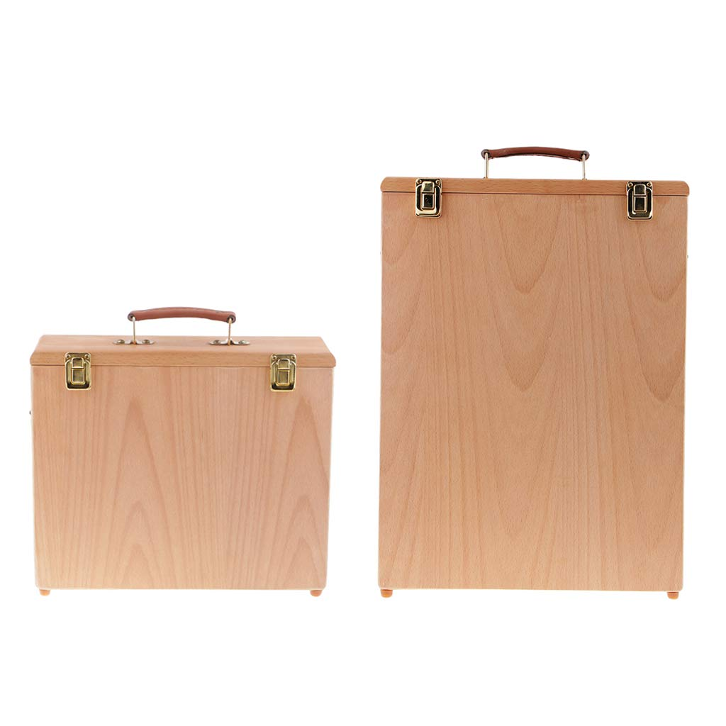 Fityle 2pcs Painters Wooden Wet Canvas Carrier Oil Painting Board Panels Carrying Case Storage Box, Fit for 8pcs 40x30cm and 8pcs 30x24cm Canvas Panel