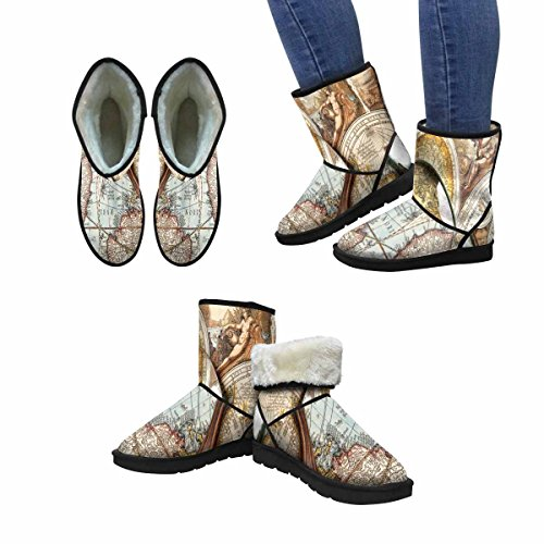 InterestPrint Womens Snow Boots Magnifying Glass and Ancient Old Map Unique Designed Comfort Winter Boots Multi 1 Ywfp20O