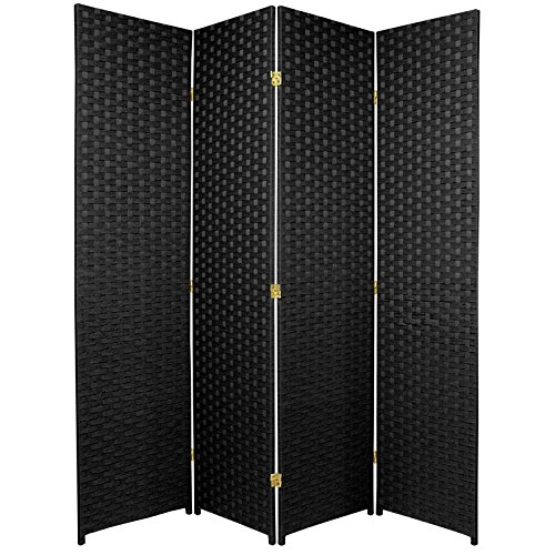Oriental Furniture 6 ft. Tall Woven Fiber Room Divider - 4 Panel - Black by ORIENTAL FURNITURE