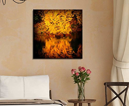 Autumn Trees Covered with Yellow Foliage Reflected in The Water Nature Beauty Wall Decor