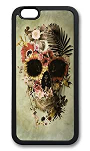 Apple Iphone 6 Case,WENJORS Awesome Garden Skull Light Soft Case Protective Shell Cell Phone Cover For Apple Iphone 6 (4.7 Inch) - TPU Black