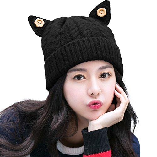 SIGGI Cat Ears Beanie Pussy Cat Hat 100% Wool Womens Winter Fleece Beanie Hats Warm Knitted Skull Beanies Cap -