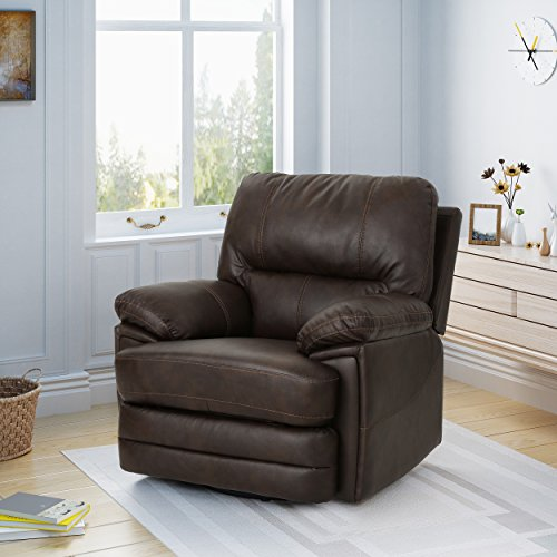 Christopher Knight Home Laurent Swivel Power Recliner, Dark Brown + Black