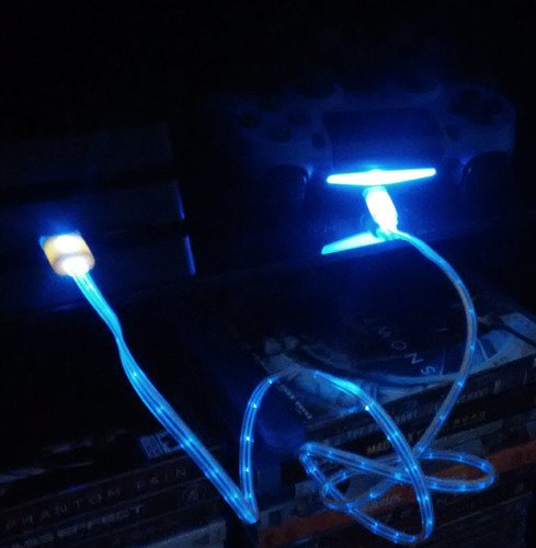 LED Charger cable for Android (Blue)
