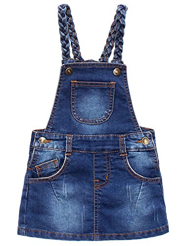 - Toddler Baby Girl's Denim Jeans Pinafore Overall One-piece Dress Suspender Skirt, Navy, 6-7 Years
