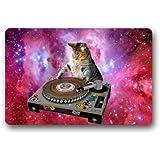 """Cool Galaxy DJ Cat Funny Animal Pet Doormats Floor Mat Door Mat Rug Indoor/Outdoor Mats Welcome Doormat 23.6""""(L) x 15.7""""(W)"""
