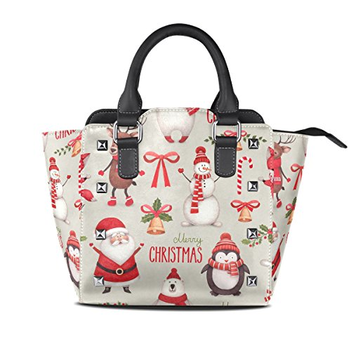 007 Handbags Women Tote Closure Bag BENNIGIRY Bags Merry Top PU Christmas Handle Multi Leather Shoulder Zip PwSZw1x