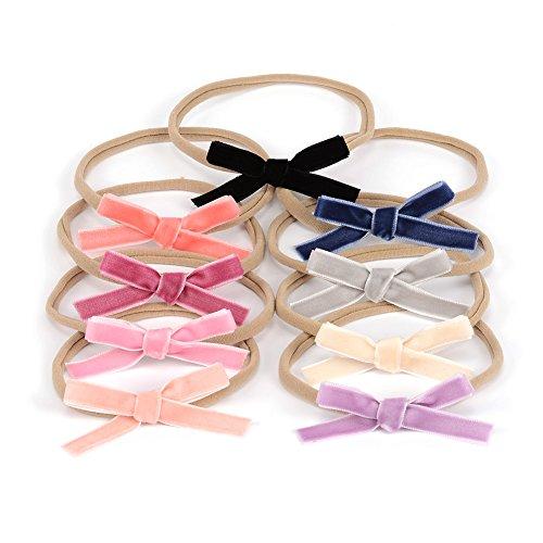 Velvet Ribbon Hair Bows Nylon Headband Handmade Mini Bow Hair Band for Infants Newbron Hair Accessory Pack of 9pcs (Mixed 9 Colors)