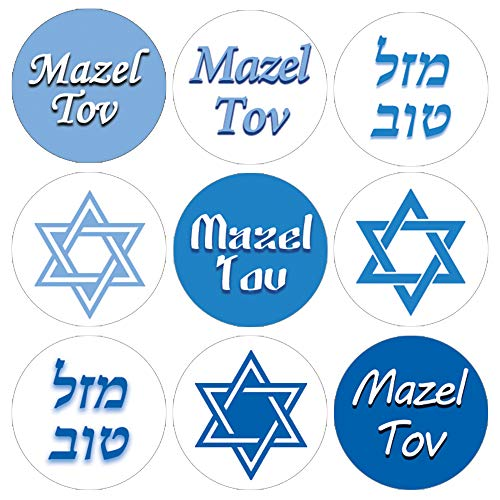 Bar Mitzvah Decor (Blue Bar Mitzvah Mazel Tov Candy Favor Labels - 180)