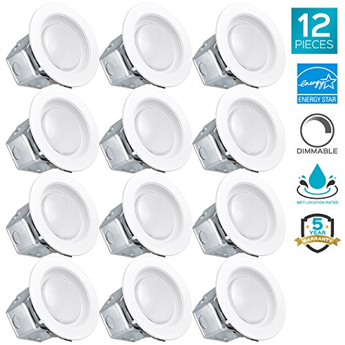 Ic White Baffle Sloped Trim - Luxrite 4 Inch LED Recessed Light with Junction Box, 10W, 3000K Soft White, Dimmable Airtight Downlight, 750lm, Energy Star, IC & Wet Rated, 120V - 277V, Recessed Lighting Kit (12 Pack)