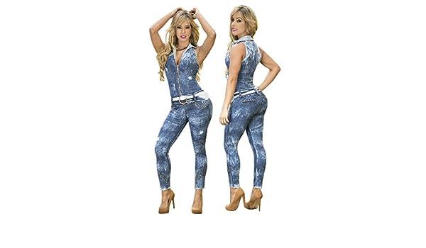 0f3a2082ea23 Amazon.com  Yes Brazil Colombian Butt Lift Jean Jumpsuit Enterizo  Colombiano 7382  Clothing