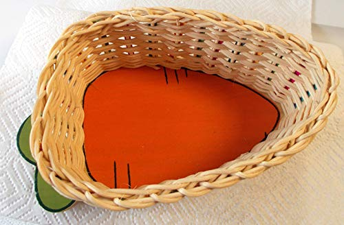 RubyShop724 Carrot Orange Green Shaped Rattan Tray Basket 8' NWT