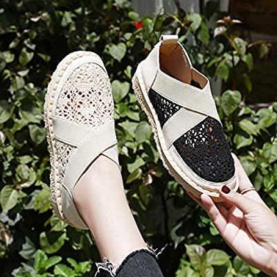 Dermanony Women's Slip-on Walking Shoes Lace Hollow Out Breathable Casual Shoes Elastic Band Comfortable Flats Shoes