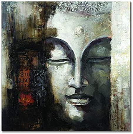 Seekland Art Hand Painted Buddha Face Canvas Wall Art Abstract Oil Painting Modern Deco Contemporary Artwork Framed Ready to Hang Framed 2424 inch