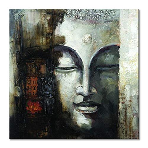 Seekland Art Hand Painted Buddha Face Canvas Wall Art Abstract Oil Painting Modern Deco Contemporary Artwork Framed Ready to Hang (Framed 2424 inch)