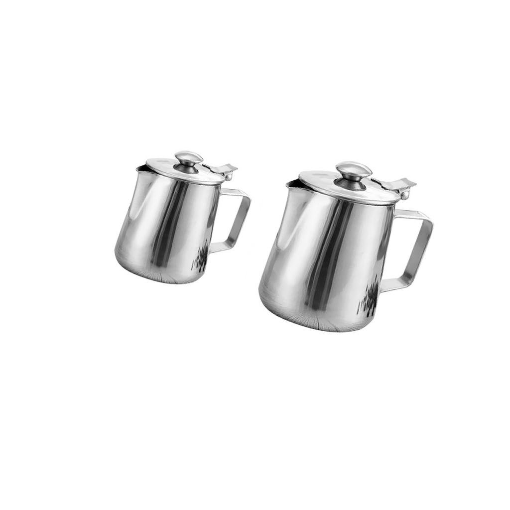 MonkeyJack Pack of Stainless Steel Coffee Pitcher Milk Frothing Jug Carafe Craft Art 600ml 1L