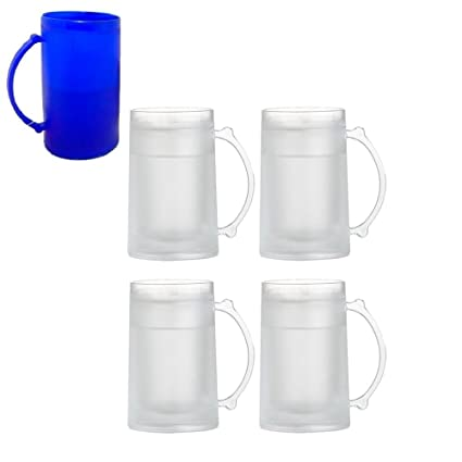 df428bbe7d7 4 Set Freezer Mugs 16 oz Frosty Freezer Mug Keep Drink Cold Ice Frozen Cup  New